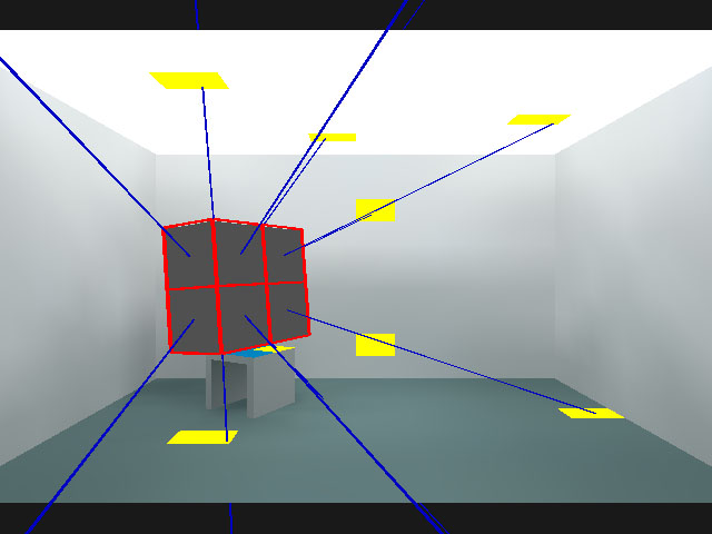 2x2 hemicube with rays traced.