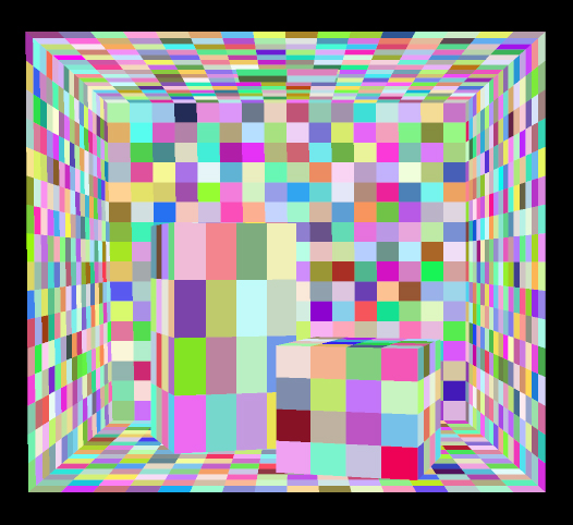The image shows The Cornell Box divided into patches for radiosity by coloring each small patch a different flat color.