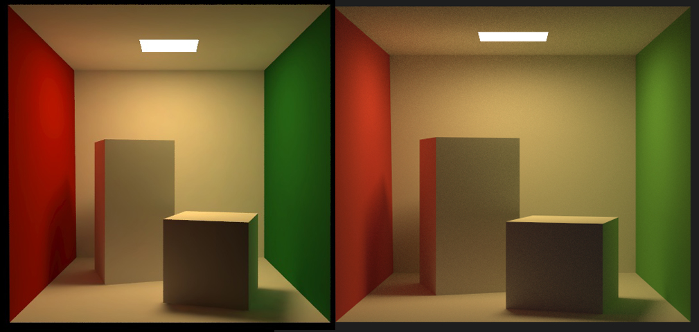 A comparison of my Cornell Box render on the right and the 'official' Cornell jpeg on the left.