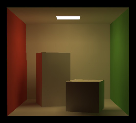 The Cornell Box rendered using 1000 radiosity patches.
