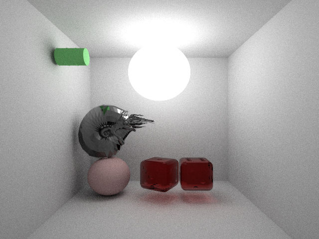 A rendered test scene showing multiple meshes rendered together using bounding box acceleration.